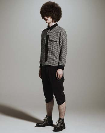 Wool Shirt × Corduroy Cropped Pants