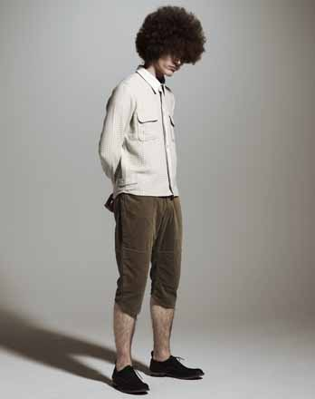 Wool Shirt × Corduroy Cropped Pants ②