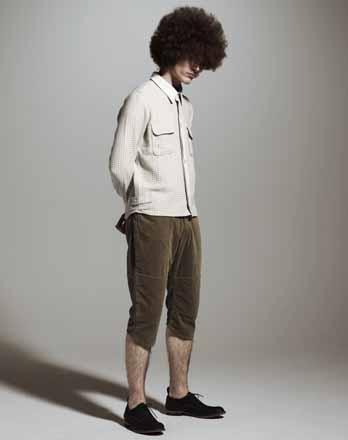 Wool Shirt × Corduroy Cropped Pants ②